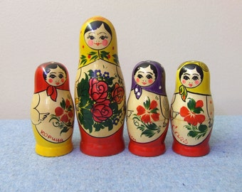 Collection of Wooden Russian Nesting Dolls shakers - Set of 4