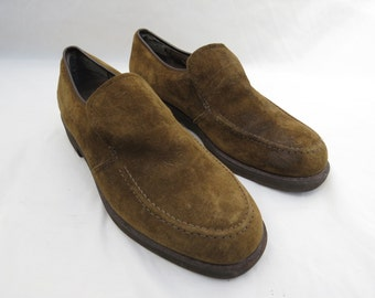HUSH PUPPIES Olive Suede Leather Slip On Loafers