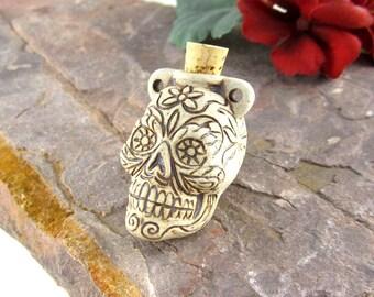 Peruvian Ceramic High Fire Sugar Skull Bottle