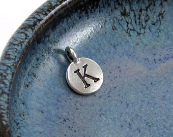 "NEW TierraCast Silver Letter ""K"" Disk Charm *YOU Collection*"