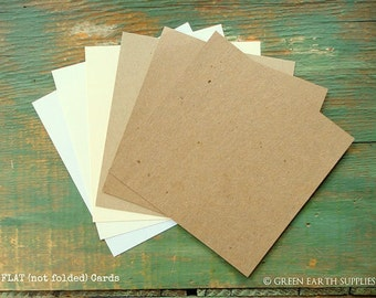 "50 Square Flat Cards: Choose 4"", 4.25"", 4.5"" or 4.75"" Recycled, Rustic Kraft Brown, Light Brown, White, Ivory, 65lb, 80lb, 100lb or 105lb"
