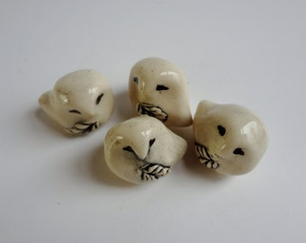 Snowy Owl Miniature - Terrarium Figurines - Pottery Owls - Creamy White - Clay Animals - Ceramic Figurines - set of 4 -Studio Choice