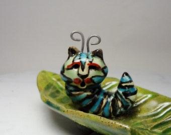 Cat Caterpillar Ring Holder - Flower Pot Decoration - Teabag Rest - Pottery Animal - Fairy Garden Figurine - Flower Pot Cat