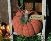 Thankful Primitive Wool Pumpkin Harvest Pumpkin Thanksgiving Decoration