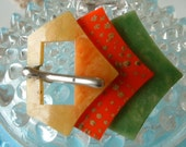 Vintage Art Deco Buckle Celliod Layered Red Green Yellow Hand Painted Great Condition Original 1930