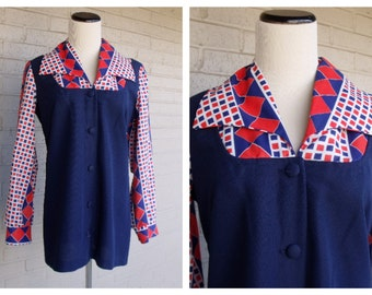 Vintage 1960's Navy Red White Collared Long Sleeve Mini Dress Mod Mad Men Retro Medium M / L