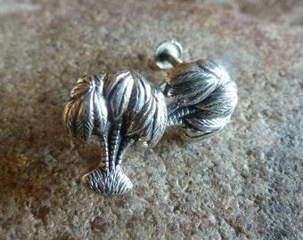 Palm Tree Earrings, Sterling Screw Back , Vintage earrings, Beach Jewelry