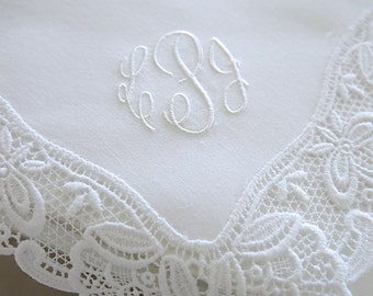 Wedding Handkerchief, White German Plauen Lace Handkerchief Style No. 40734 with Classic 3-Initial Monogram Wedding Handkerchief