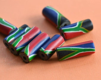 4pcs Flag Beads South Africa 7x18mm Polyclay Polymer Clay Jewelry