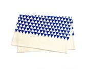 Triangles - Tea Towel - Cobalt Blue - Organic Cotton & Hemp - Screen Printed