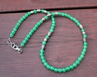 FREE SHIPPING - Men's / Unisex Green Jade Necklace - Feng Shui Jewelry Reiki Chakra Energy