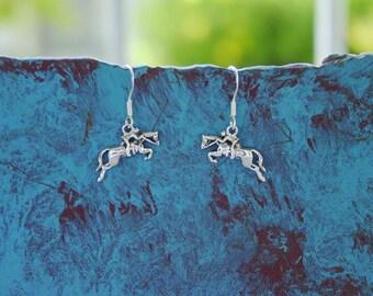 Hunter Jumper Horse Earrings .925 Sterling Silver Equestrian Jewelry Horse Jewelry