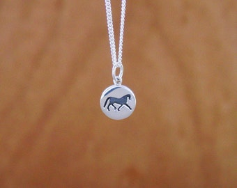 "Silhouette Horse Pendant Sterling Silver with 18"" Chain,Equestrian Jewelry,Horse Pendant"
