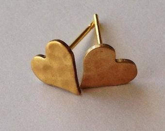 Brass heart stud earrings