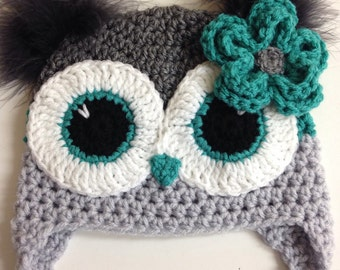 Grey and Aqua Teal Owl Hat
