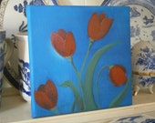 Little Red Tulips IV Small Artwork on Stretched Canvas