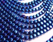 Hematite mystic blue - 4mm rounded cube beads - full strand - 105 beads - A quality - PHG81