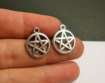 50 Pentacle Pentagram charms - 50 pcs - silver color -  ASA144