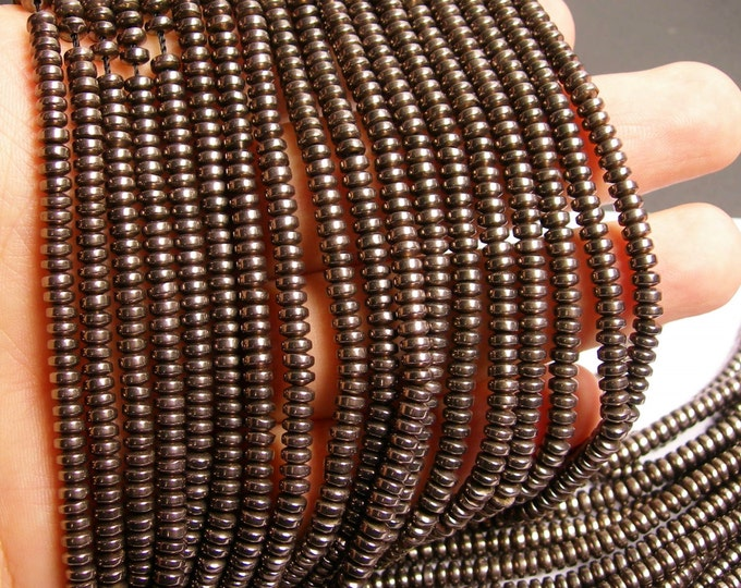 Hematite charcoal -  4mm rondelle beads - full strand - 195 beads - A quality -  PHG114
