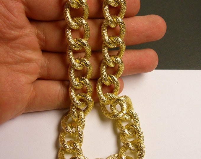 Gold chain - curb chain textured - 1 meter - 3.3 feet - aluminum chain -  big curb chain - NTAC128