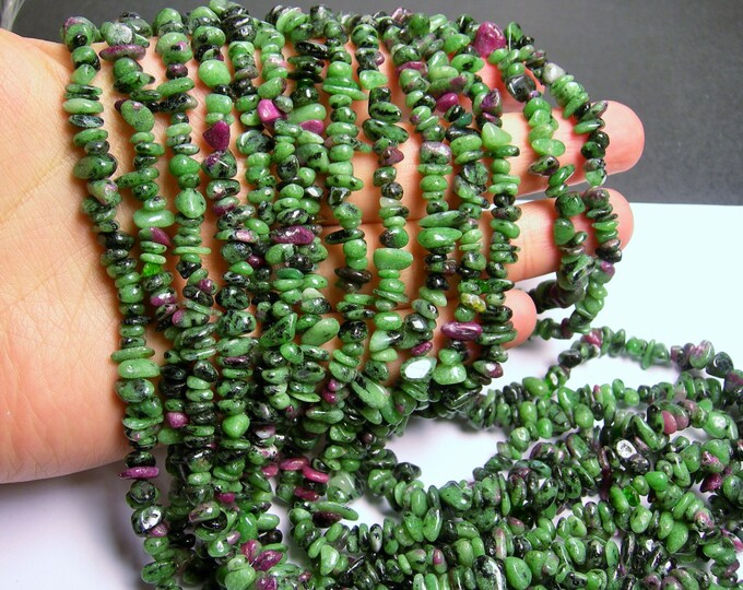 Ruby zoisite chips stone beads  -1 full strand - 36 inch - A quality - PSC66