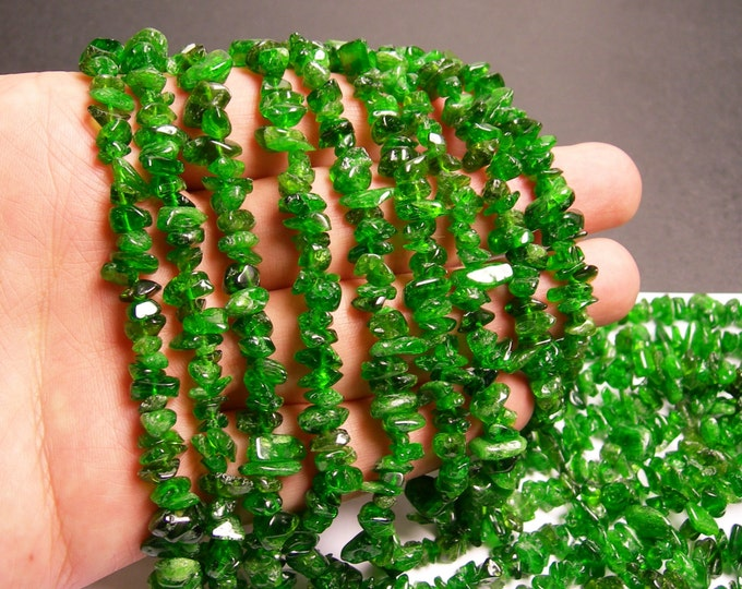 Chrome Diopside -  gemstone - chip stone  - 16 inch strand - Green Diopside - PSC68