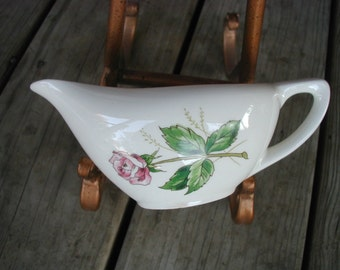 Vintage Collectible Shabby Rose Creamer with Handle Knowles Tea Rose Pattern China Dish