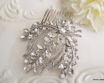 Vintage Style Leaf Hair Comb Rhinestone Hair Comb Crystal Hair Comb Bridal Hair Comb Wedding Hair Comb Brooch Hair Comb Vintage Clip JUDITH