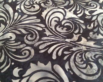 Deep Blue Filgree Batik Gypsy Wrap, size M or L - yoga headband, hair wrap, dread wrap, pre tied bandana