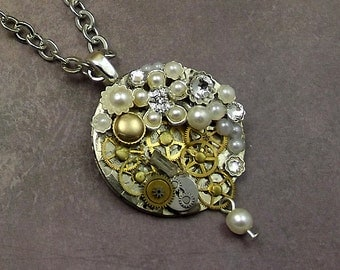 Steampunk Pearl Gear Necklace, Watch Plate Stainless Silver