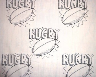 Rugby Fabric Rugby Ball All Colors / All Cotton Fabric 1 yd