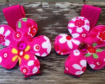 Hot Pink Flower Hair Clips Barrettes - No Slip Grip