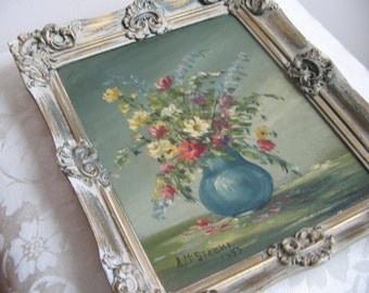 Vintage Oil Painting Flowers Blue Vase Floral Still Life Signed A.M. Stocki 1953, Ornate Chippy Gold White Wood Frame, Shabby Cottage