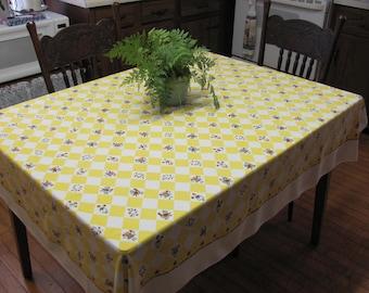 Vintage Folk Art Pennsylvania Dutch Style Rectangle Yellow Check Tablecloth