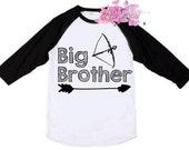Big Brother Shirt - Big Bro Shirt in Black or Blue Raglan with Bow and Arrow - Big Brother Raglan
