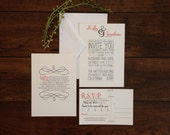 Couples Love Story Wedding Invitation Suite Coral Grey