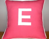 16x16 Personalized Initial Monogram Pillow Cover With Piping - Choose Your Color
