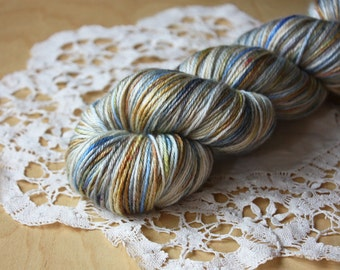 Hand Dyed Yarn / Fingering Weight / Sky Blue Dove Grey Golden Moss Nightingale Silk Merino Wool