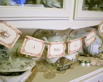 A Baby is Brewing Banner Tea Party Shower Banner Teapot Garland