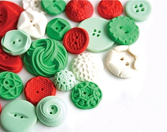 Holiday Candy Buttons 50 in greens, white and red -by Andie's Specialty Sweets