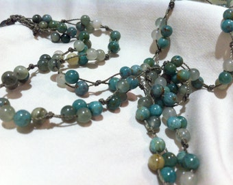 NECKLACE Clusters of Gorgeous African JADE  Beads Hand knotted Feminine Delicate Fun Jewelry Mother's Day