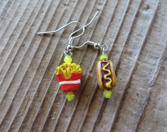 Cute French Fries and Hot Dog Hand Painted Clay and Crystal Earrings