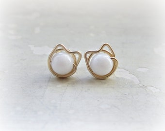White Cat Stud Earrings, Gold Filled Posts, Pet Lover, Kitty Stud Earrings, White Agate Studs, Cat Jewelry, Kitty Cat,Cat Post Earrings