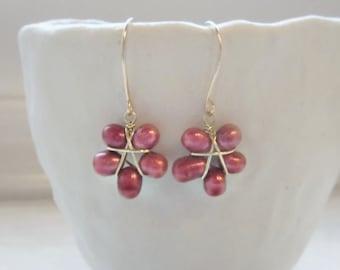 Poinsettia Earrings,Red Flower Earrings, Freshwater Pearls,Gold Filled Earrings, Cranberry Red Earrings,Wine Pearl Earrings, Floral Earrings
