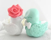 Love Bird Wedding Cake Topper, Coral, White and Mint Green, Bride and Groom Keepsake, Fully Custom