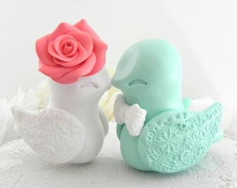 Love Bird Wedding Cake Topper, Coral, White and Mint Green, Bride and Groom Keepsake, Fully Custom