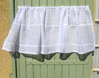 Sheer Linen Valance, Custom White Curtain, Window Topper, Cantonniere