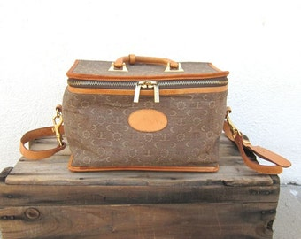 SALE Vintage Moon Canvas and Tan Leather Train Case Cosmetic Bag w/Shoulder Strap By El Portal