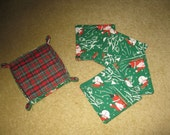 Quilted Set of 4 Christmas Holiday Coasters with Holder