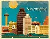 San Antonio Skyline Art Print, Texas Wall Art, San Antonio TX  Horizontal, Loose Petals Print, Texas Digital Print, Texas Print - E8-O-SAN
